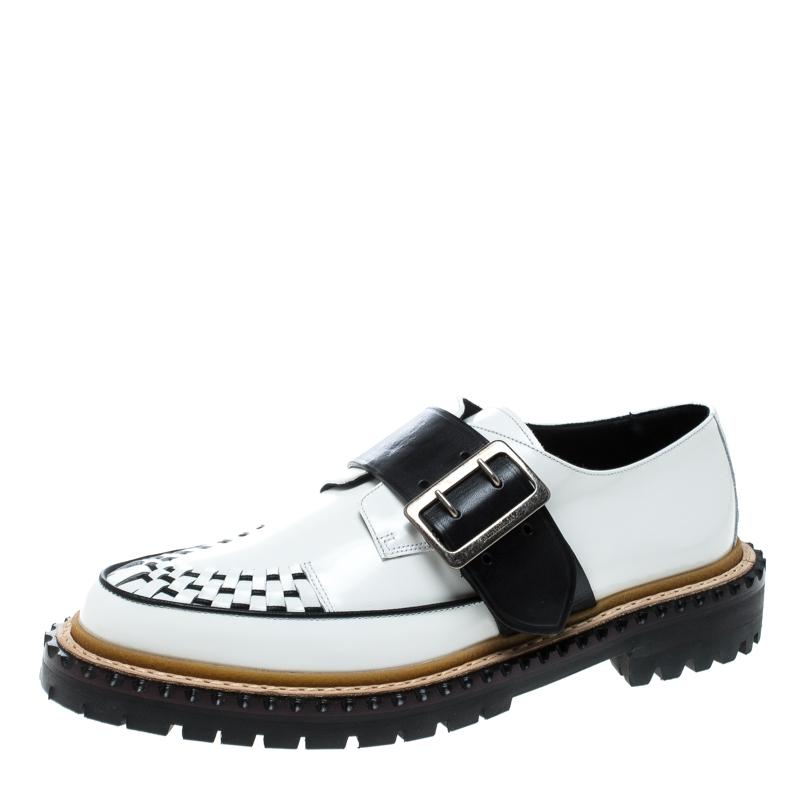 86384597b57 Buy Burberry Monochrome Leather Mason Buckle Strap Platform Creepers ...