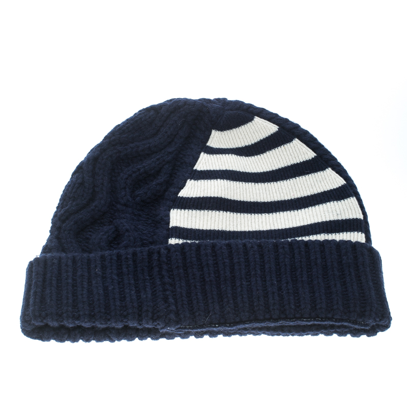 96263bc4f18 ... Burberry Navy Blue Chunky Cable Knit Wool and Cashmere Beanie.  nextprev. prevnext