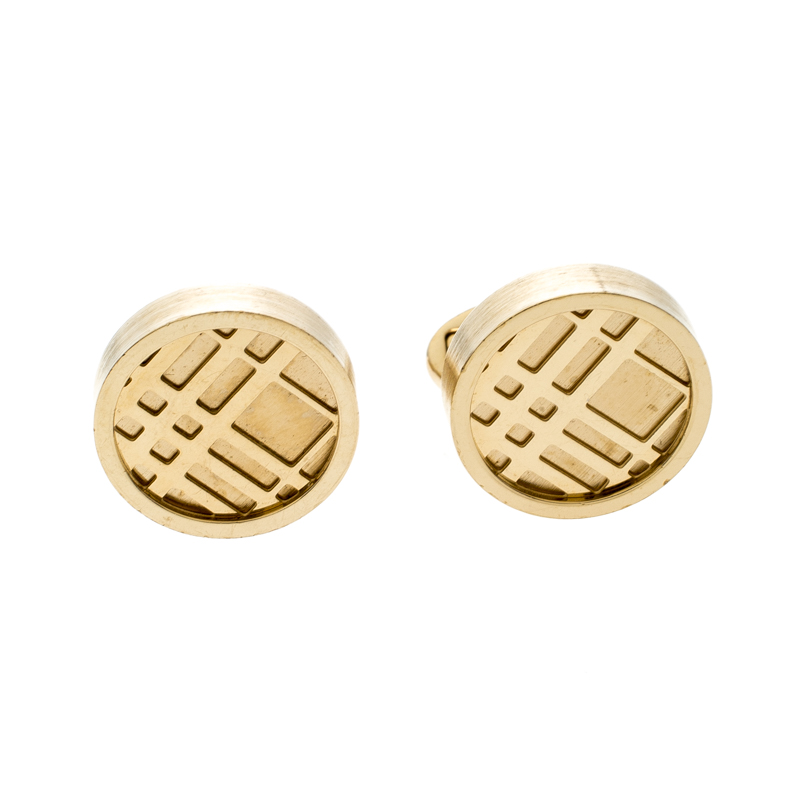Burberry Check Engraved Gold Tone Round Cufflinks