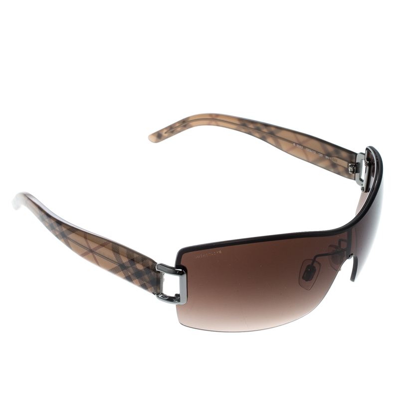 cd000c32580 Buy Burberry Brown Gradient B 3043 Shield Sunglasses 167988 at best ...