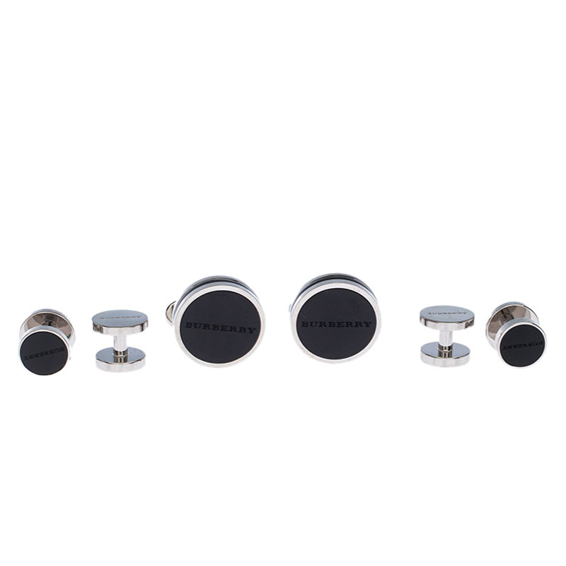 Burberry Stainless Steel Black Agate Tuxedo Studs and Cufflink Set