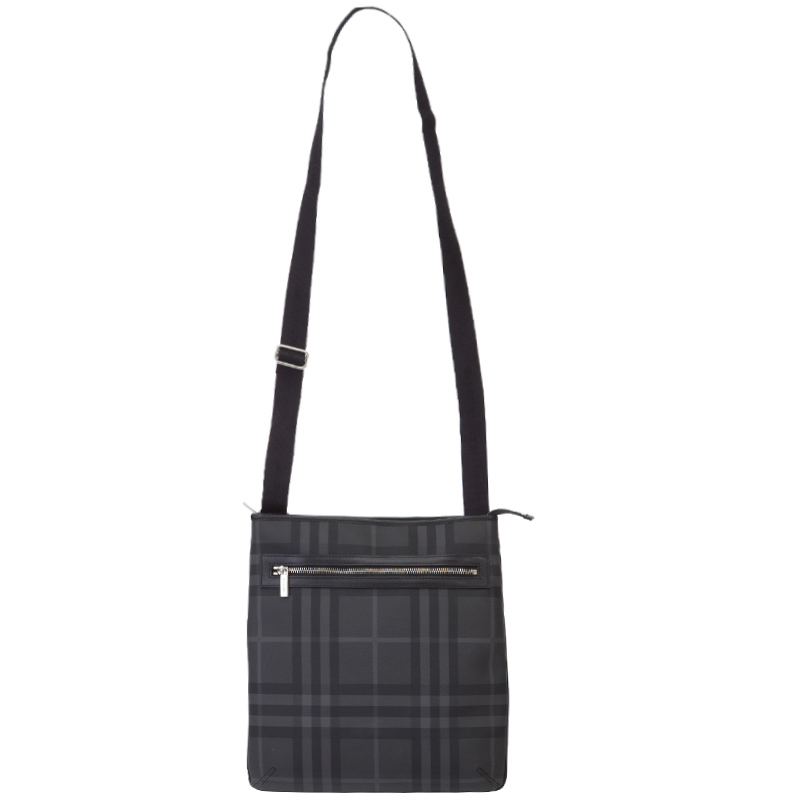 d9e52b9ce7b8 Buy Burberry Black Grey Check PVC Messenger Bag 132835 at best price ...