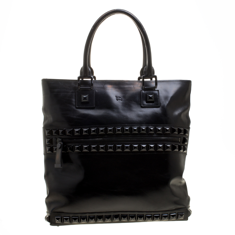 4fddba875b0 Buy Burberry Black Glazed Leather Studded Tote 135930 at best price ...