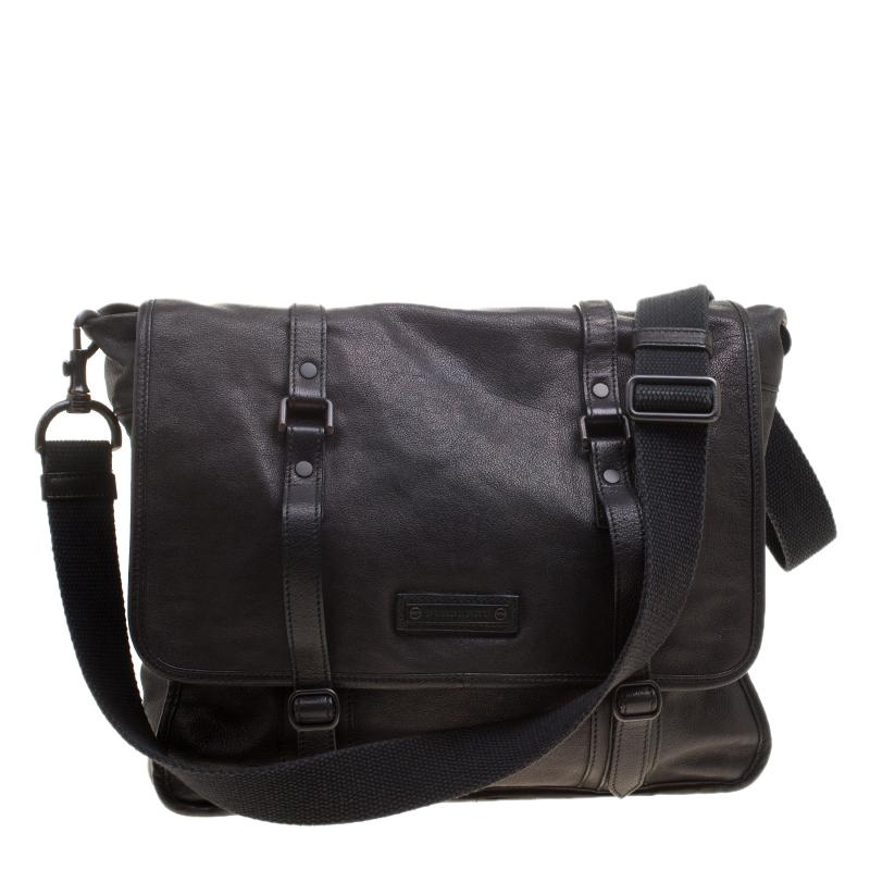 517fc7db77e Buy Burberry Black Leather Messenger Bag 140766 at best price | TLC