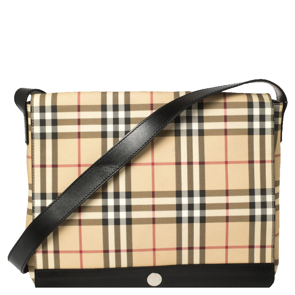 Pre-owned Burberry Beige/black Nova Check Coated Canvas And Leather Messenger Bag