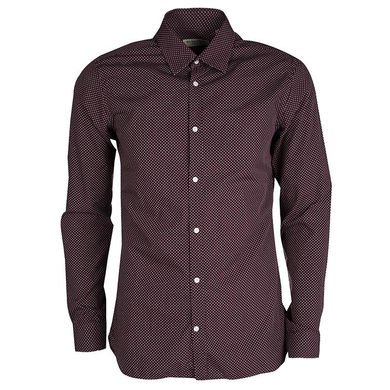 8cc99478cd Buy Burberry London Purple Dotted Long Sleeve Slim Fit Shirt M ...