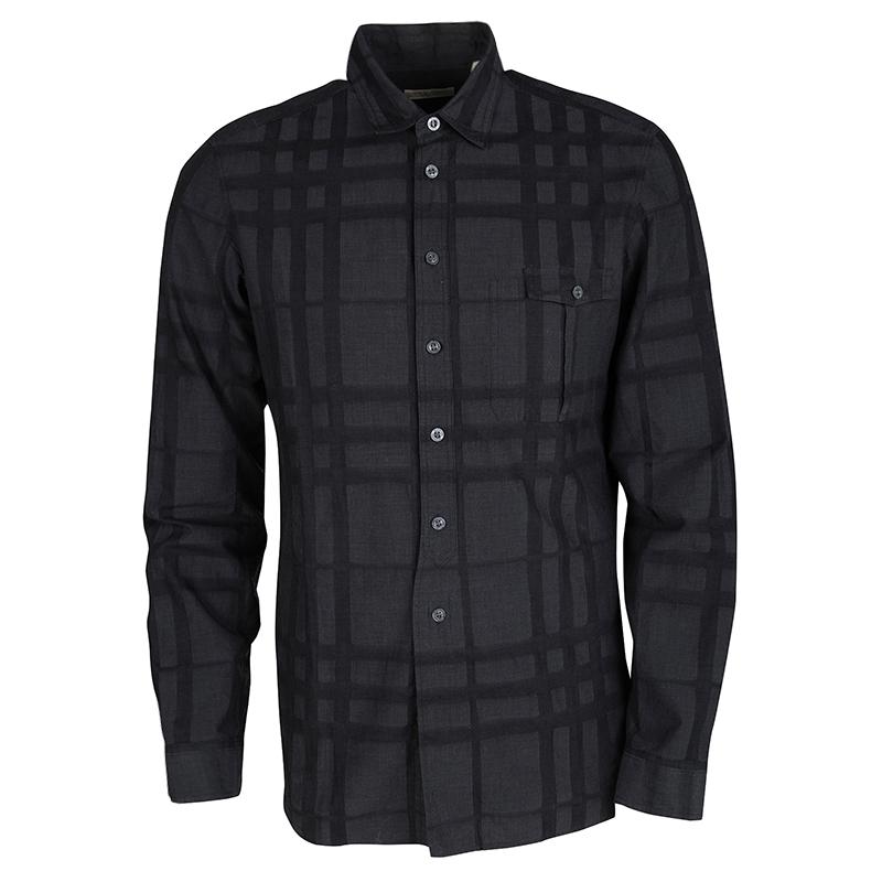 c2706b48 ... Burberry Brit Dark Grey Checked Cotton Long Sleeve Button Front Shirt  M. nextprev. prevnext