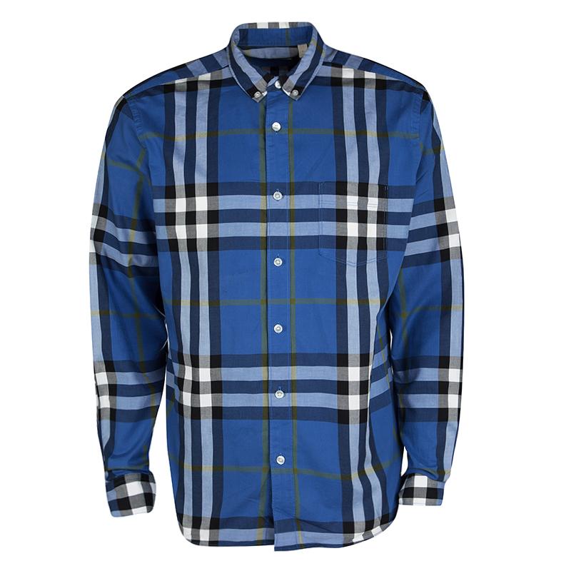 31feb9a3 ... Burberry Brit Blue Checked Cotton Long Sleeve Buttondown Shirt XL.  nextprev. prevnext