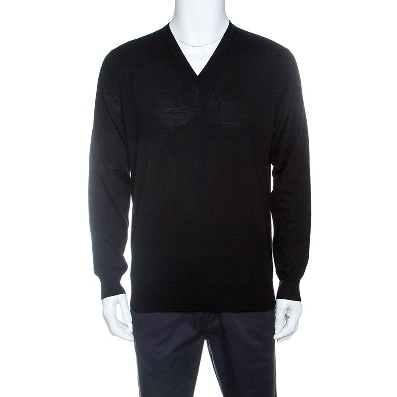 41ec8954ccea Buy Burberry London Black Merino Wool Ribbed Trim V-Neck Sweater L ...