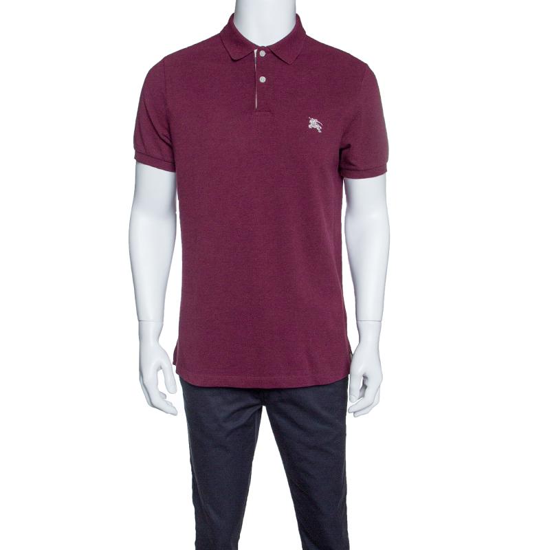 21cbce680 ... Burberry Brit Burgundy Honeycomb Knit Novacheck Placket Detail Polo  T-Shirt L. nextprev. prevnext