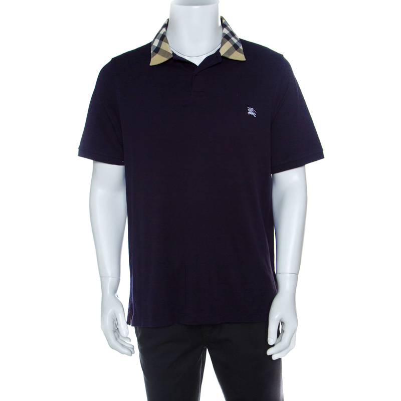 f449a46f4baf ... Burberry London Navy Blue Cotton Novacheck Collar Detail Polo T-Shirt  XL. nextprev. prevnext