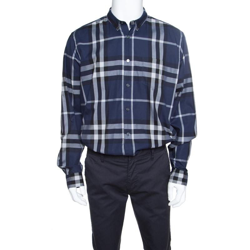 63590c96 ... Burberry Brit Blue Checked Cotton Long Sleeve Button Down Shirt XXL.  nextprev. prevnext