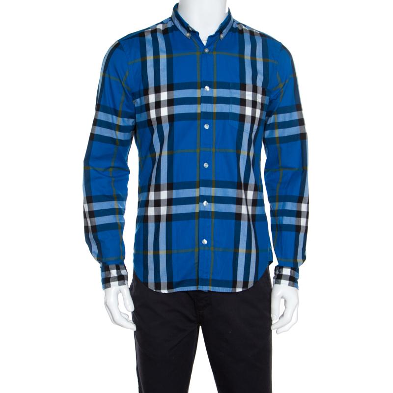 10490784 ... Burberry Brit Blue Checked Cotton Long Sleeve Button Down Shirt M.  nextprev. prevnext