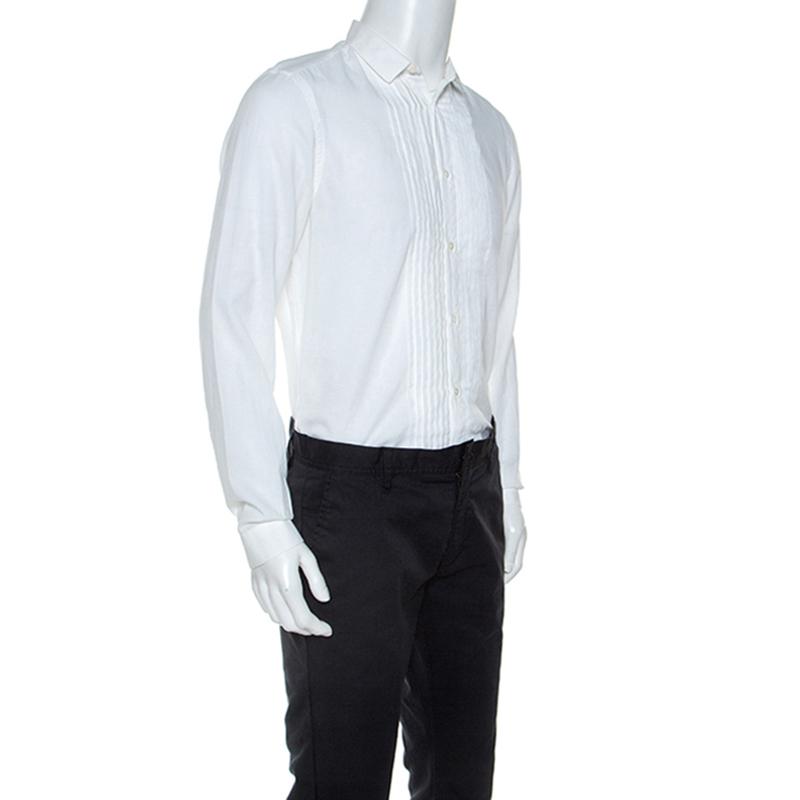 Burberry Weiße Baumwolle Plissee-Bib Tuxedo Shirt M