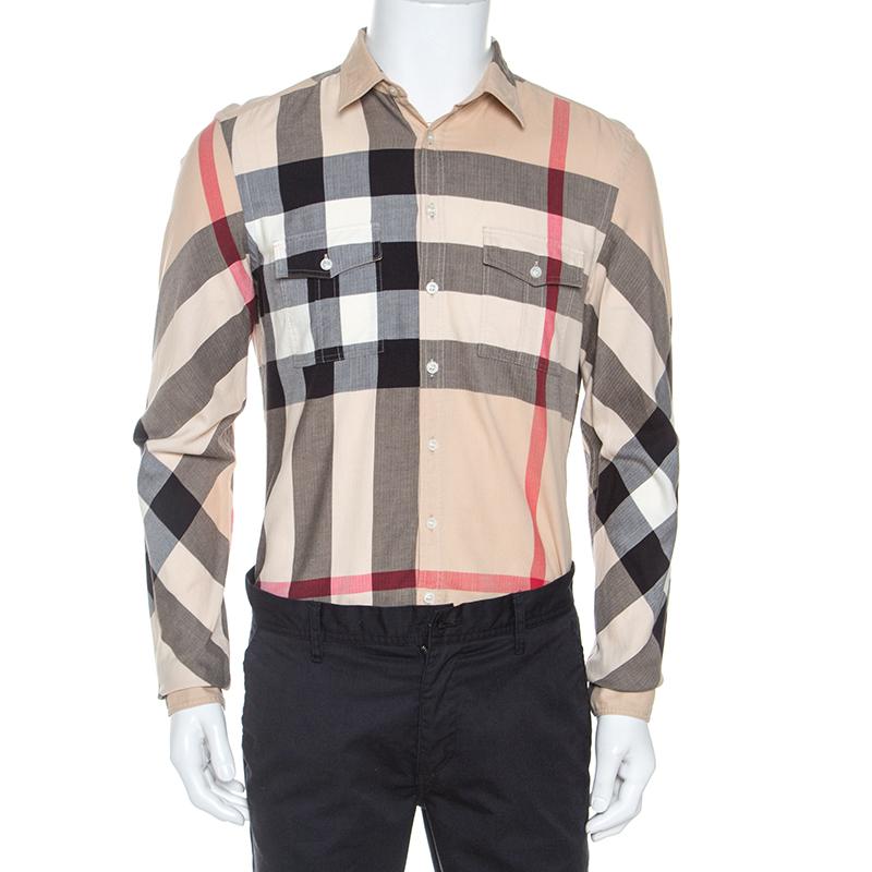 Burberry Brit Beige Herringbone Exploded Check Cotton Shirt M