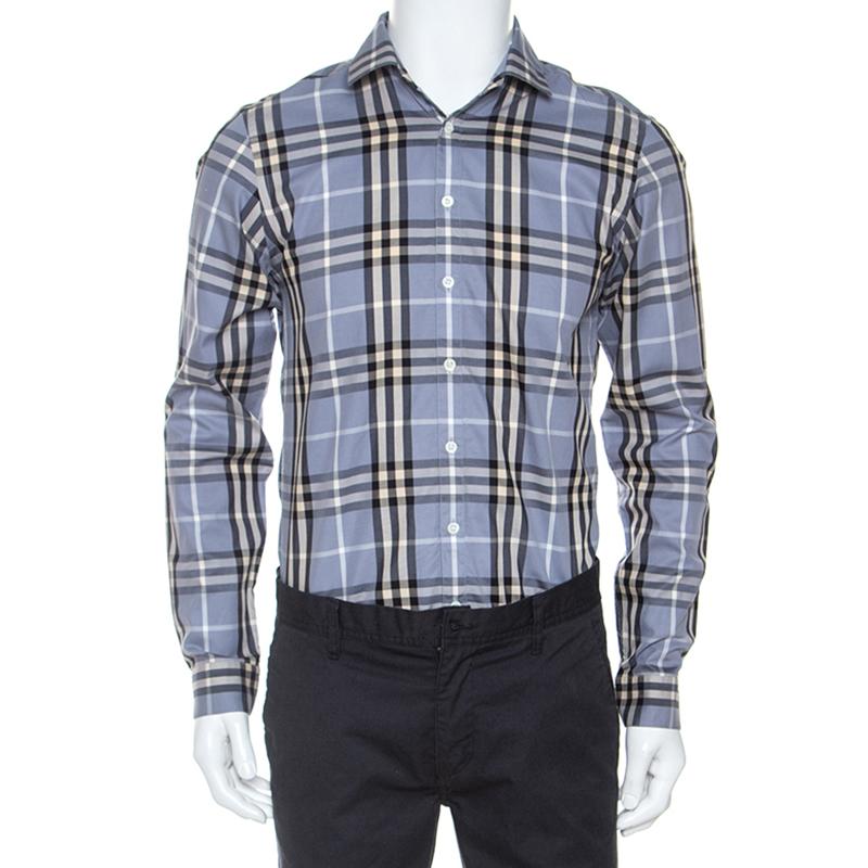 Burberry Grey Nova Check Cotton Long Sleeve Button Front Shirt S