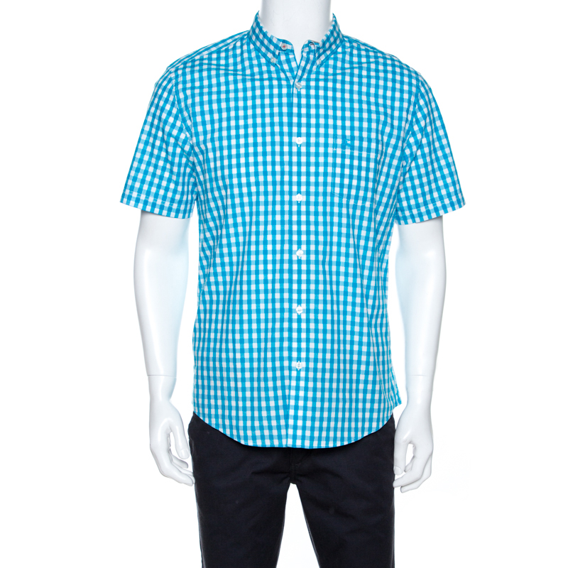 Burberry Brit Bicolor Gingham Check Cotton Short Sleeve Shirt Xl In Blue