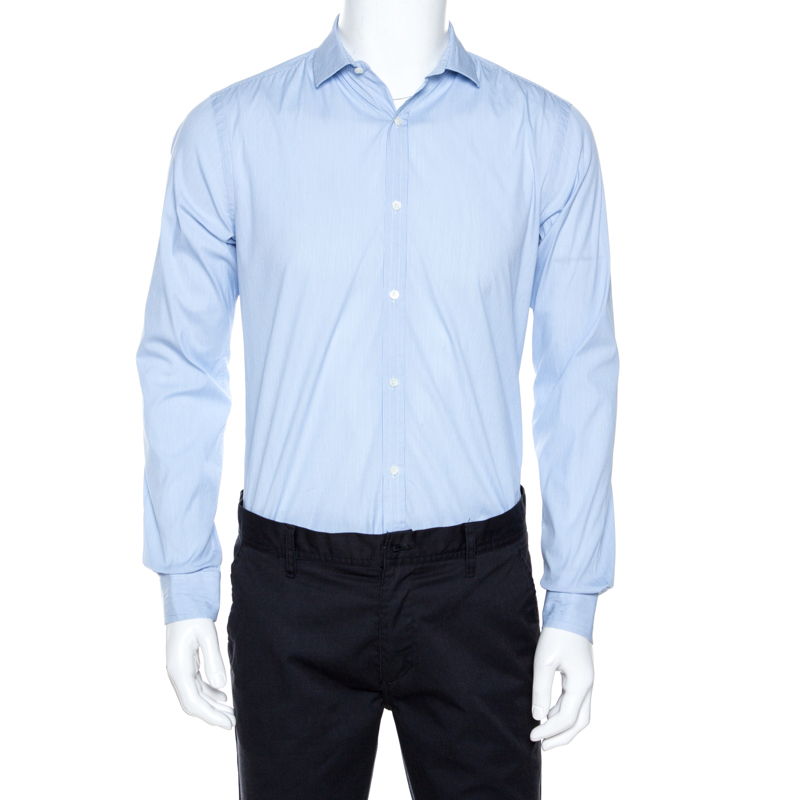 Burberry Light Blue Striped Stretch Cotton Slim Fit Shirt M