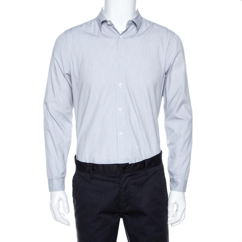 Burberry Prorsum Monochrome Striped Cotton Long Sleeve Shirt Xl In White