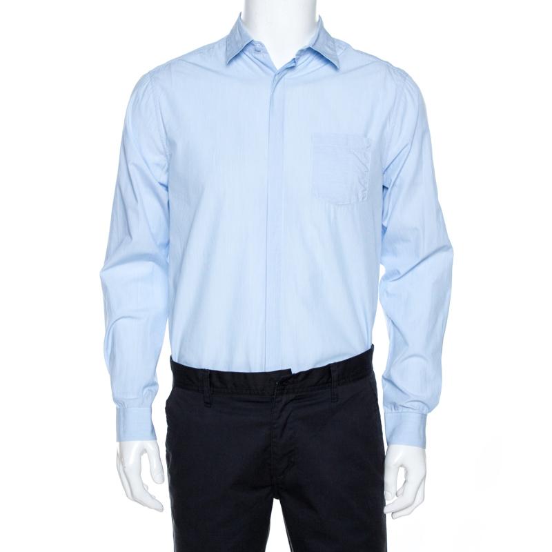 Burberry Light Blue Striped Cotton Long Sleeve Shirt L