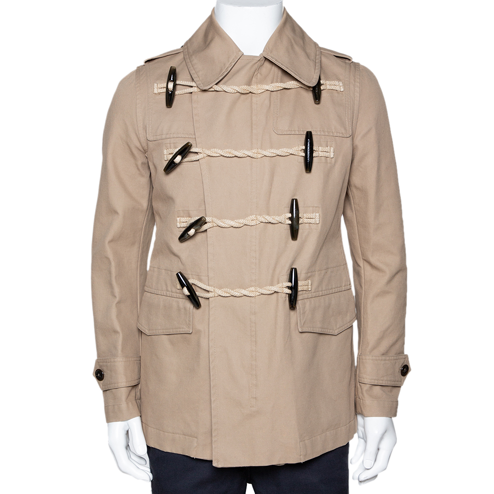 Burberry Beige Cotton Double Breasted Toggle Duffle Coat S