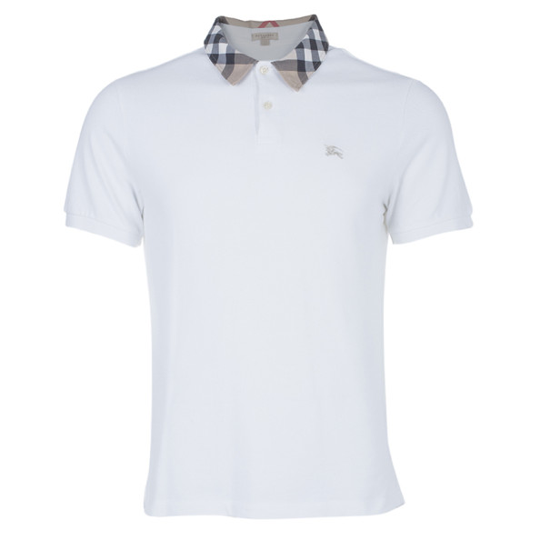702dd514529568 Buy Burberry Men's White Novacheck Collar Polo Shirt L 3503 at best price |  TLC