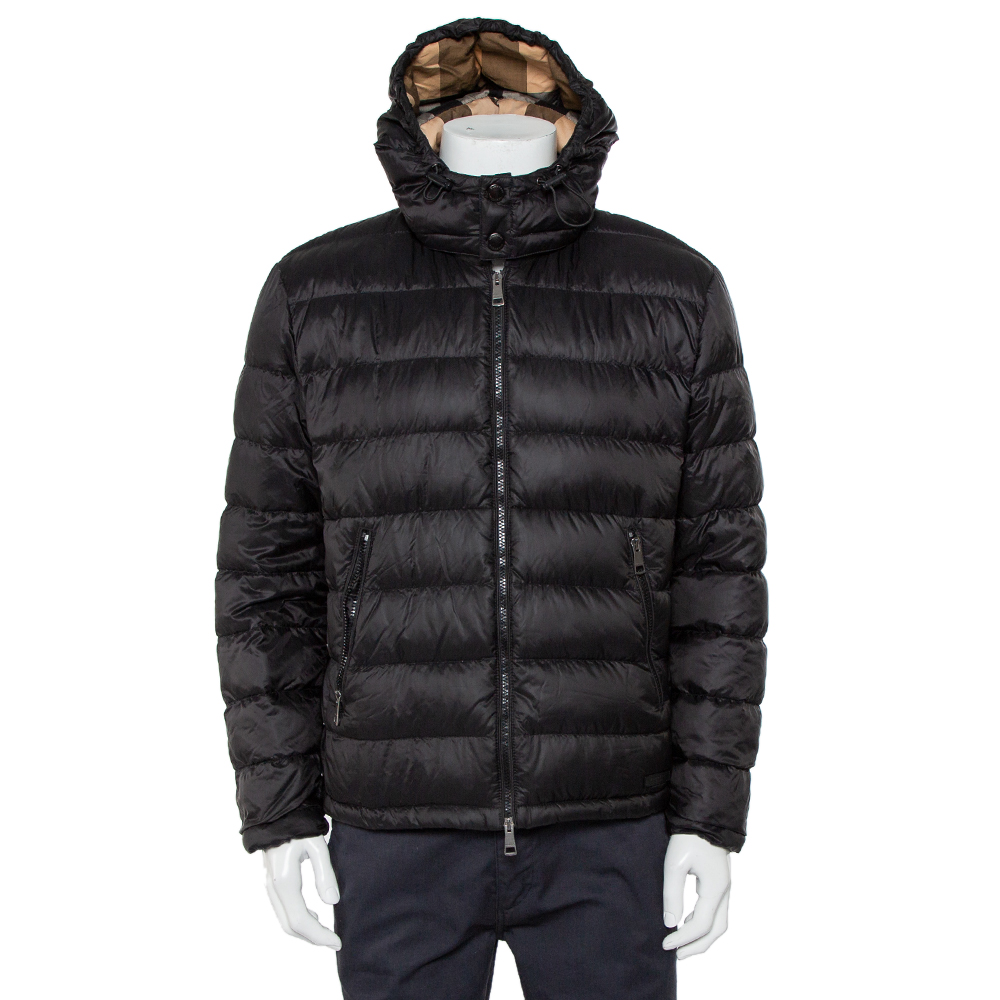 Pre-owned Burberry Brit Black Synthetic Detachable Hood Detail Puffer Jacket Xl