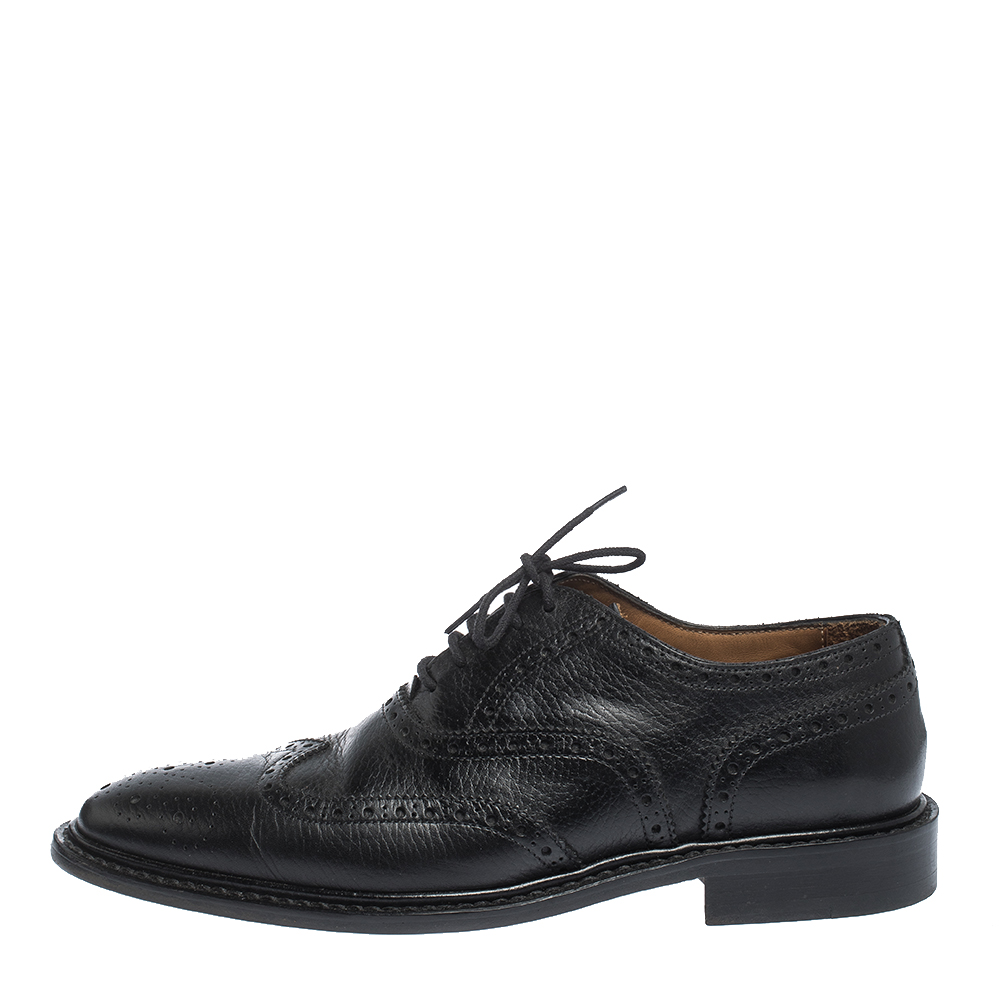 Burberry Black Brogue Leather Rayford Wingtip Derby Size 40  - buy with discount