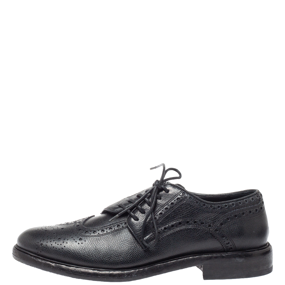 Burberry Black Leather Rayford Asymmetric Brogues Size 43