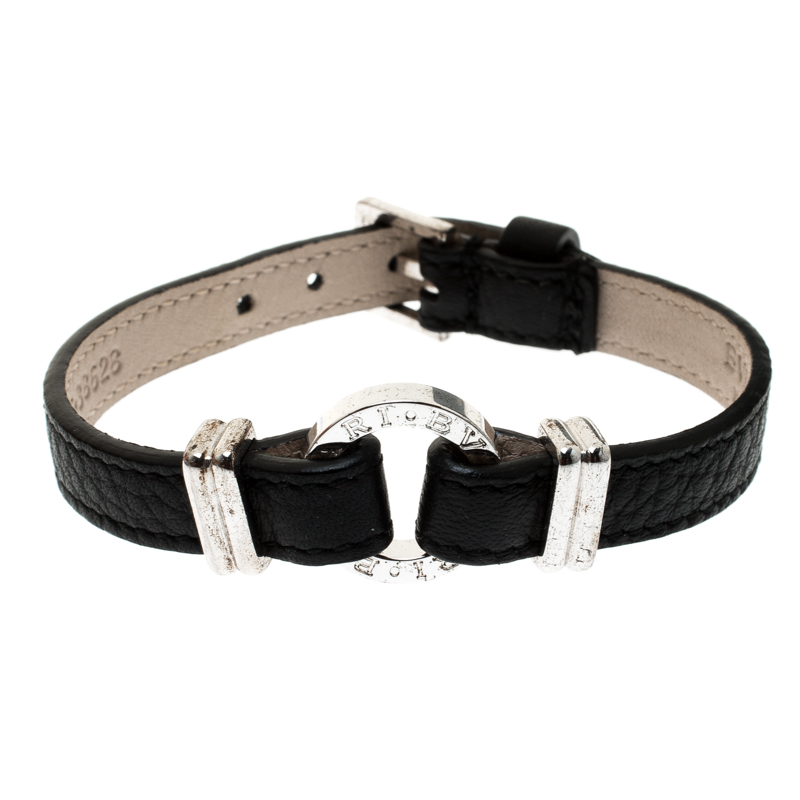 Bvlgari Black Leather Silver Bracelet