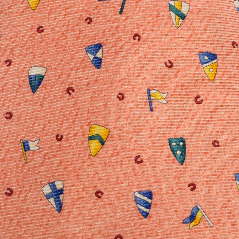 Bvlgari x Davide Pizzigoni Orange Flag and Shield Print Silk Seven Fold Tie