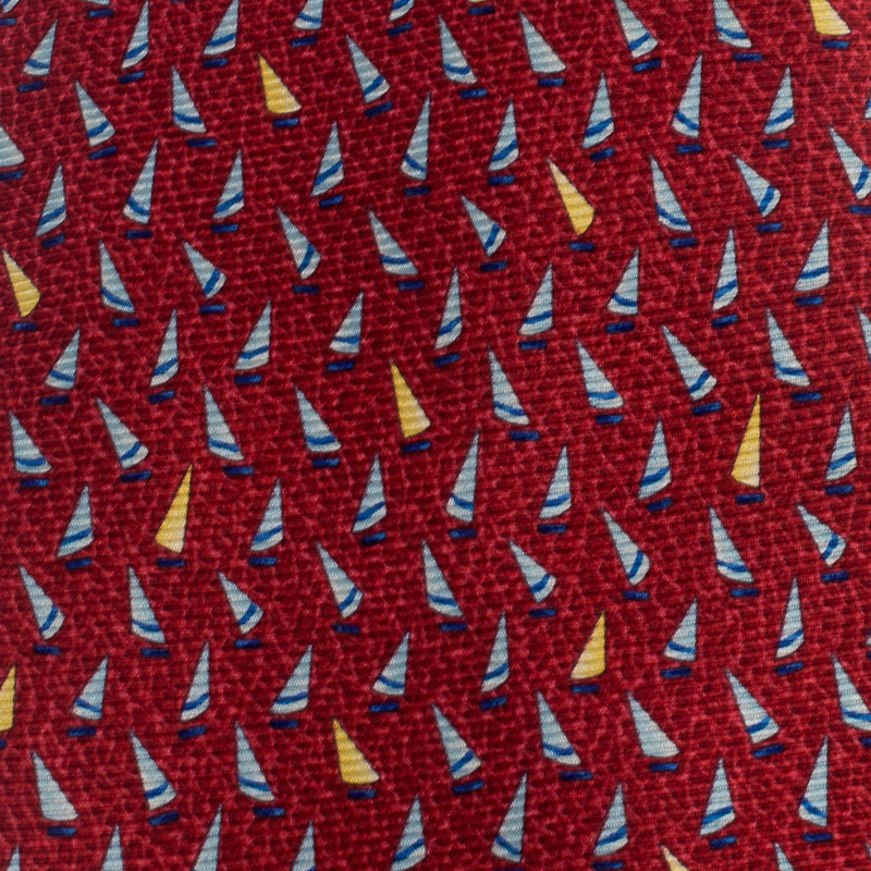 Bvlgari Red Sailboat Print Silk Tie