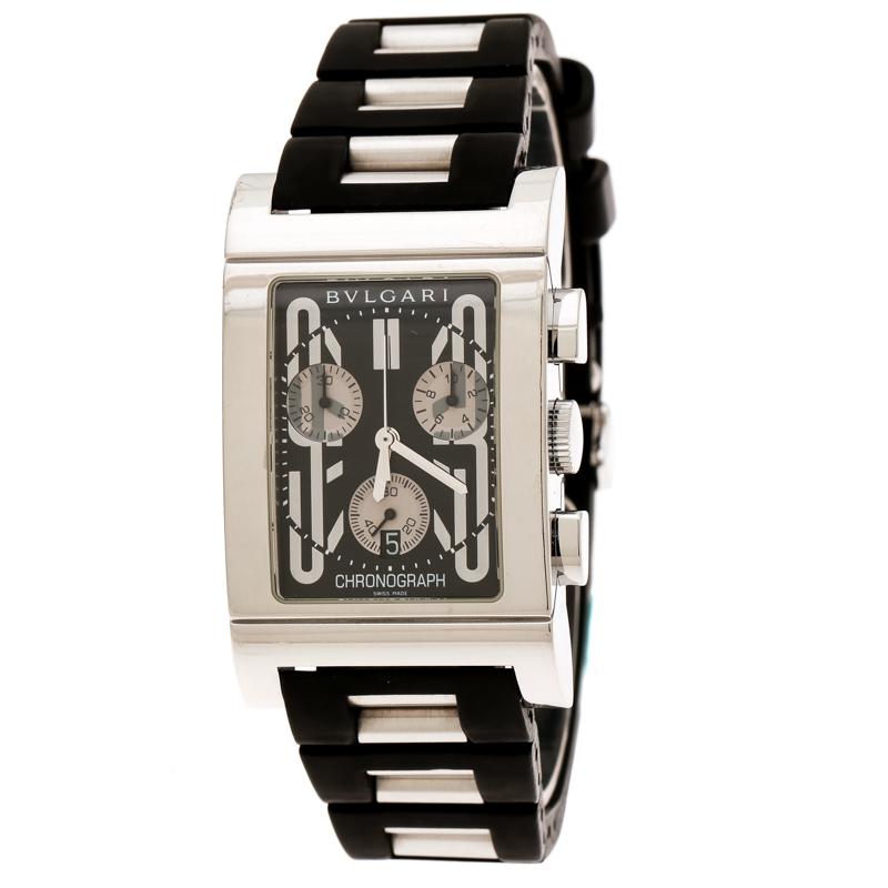 Bvlgari Black Stainless Steel Rettangolo RTC49S Chronograph Men's Wristwatch 29 mm
