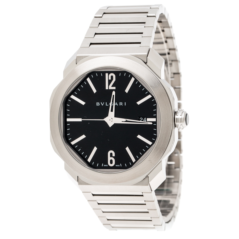 Bvlgari Black Stainless Steel Octo OC41S Men's Wristwatch 41 mm