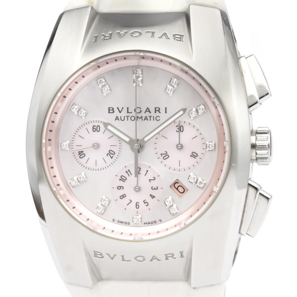 Bvlgari Pink MOP Diamonds Stainless Steel Ergon Chronograph EG35SCH Men's Wristwatch 35 MM