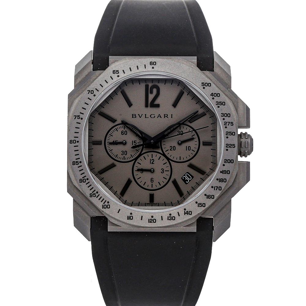 Bvlgari Gray Titanium Octo L'Originale Chronograph 102859 Men's Wristwatch 41 MM