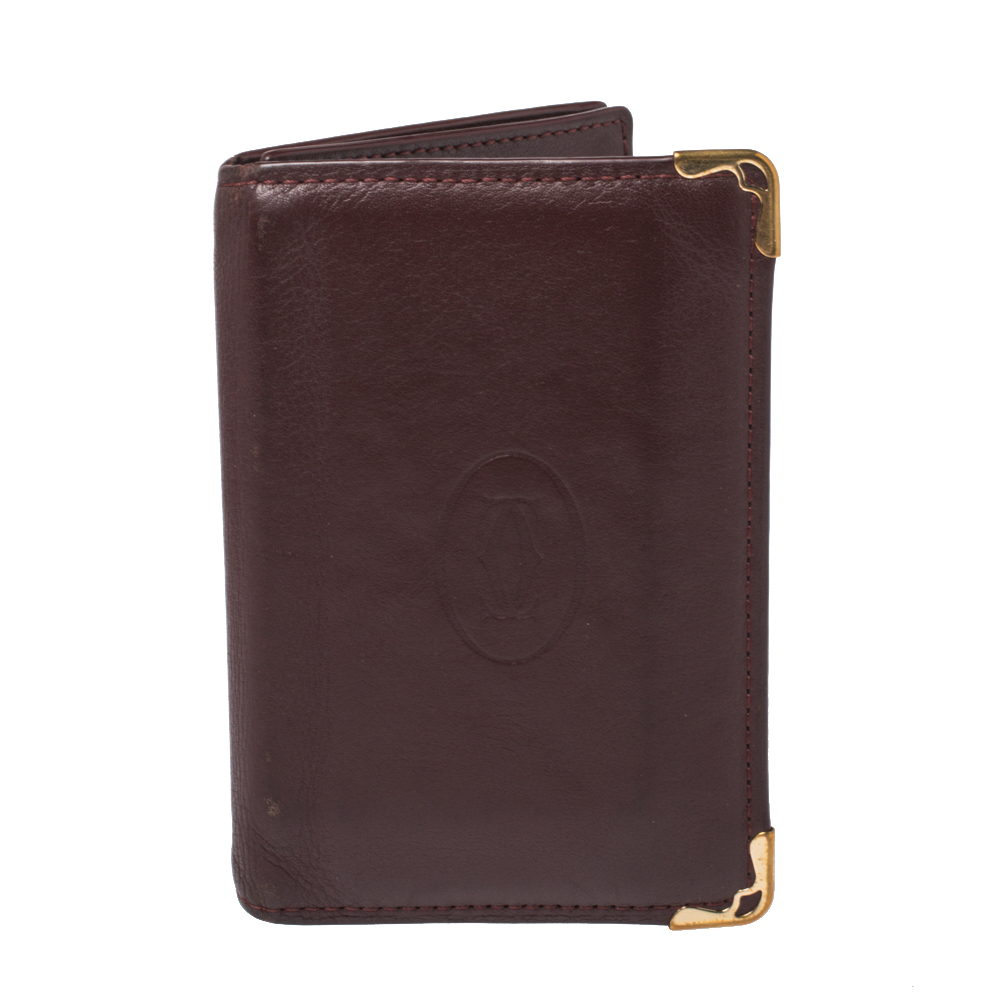 Pre-owned Cartier Card Holder In Burgundy