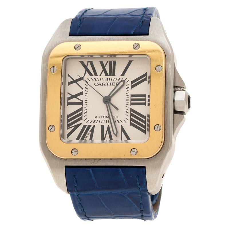 029e2adb6 إشتري ساعة يد رجالية كارتييع سانتوز 100 2656 ستانلس ستيل وذهب أصفر ...