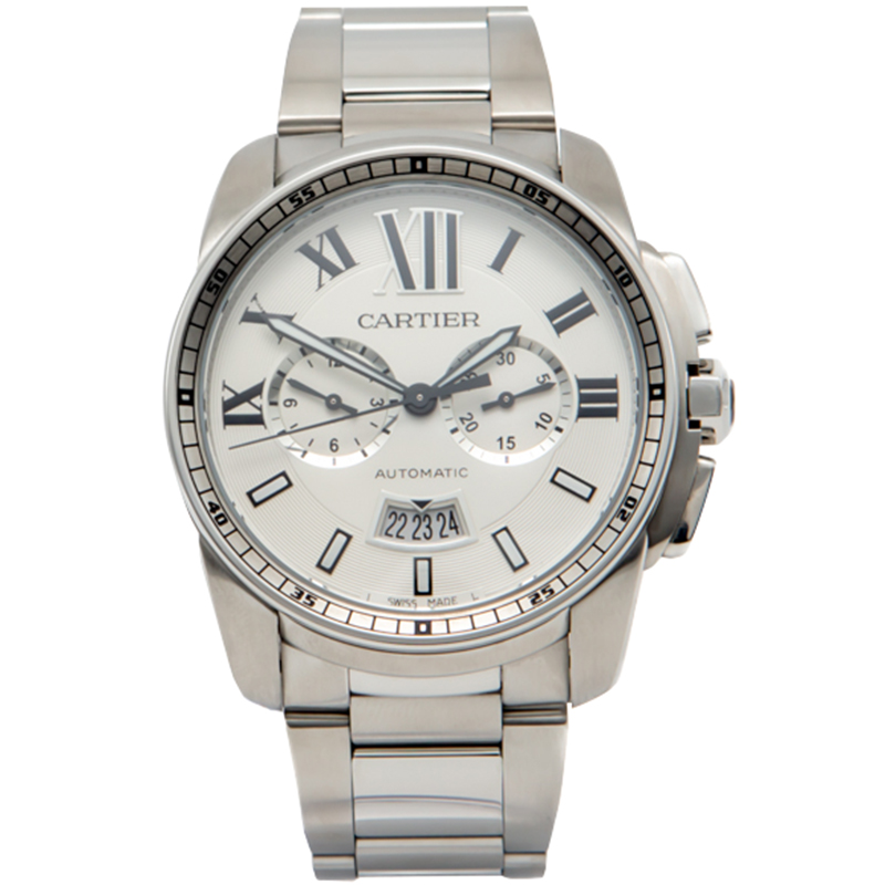 Cartier White Calibre De Cartier Open Stainless Steel Back Case Chronograph Men'S Watch 42MM
