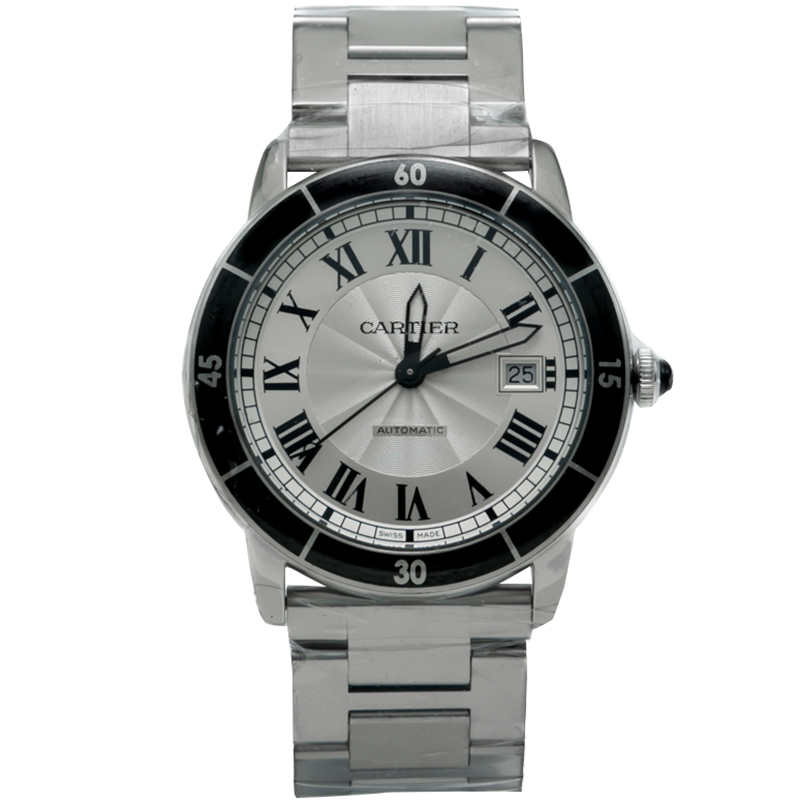 Cartier Silver Dial Ronde Croisiere Stainless Steel Automatic Men's Watch 42MM