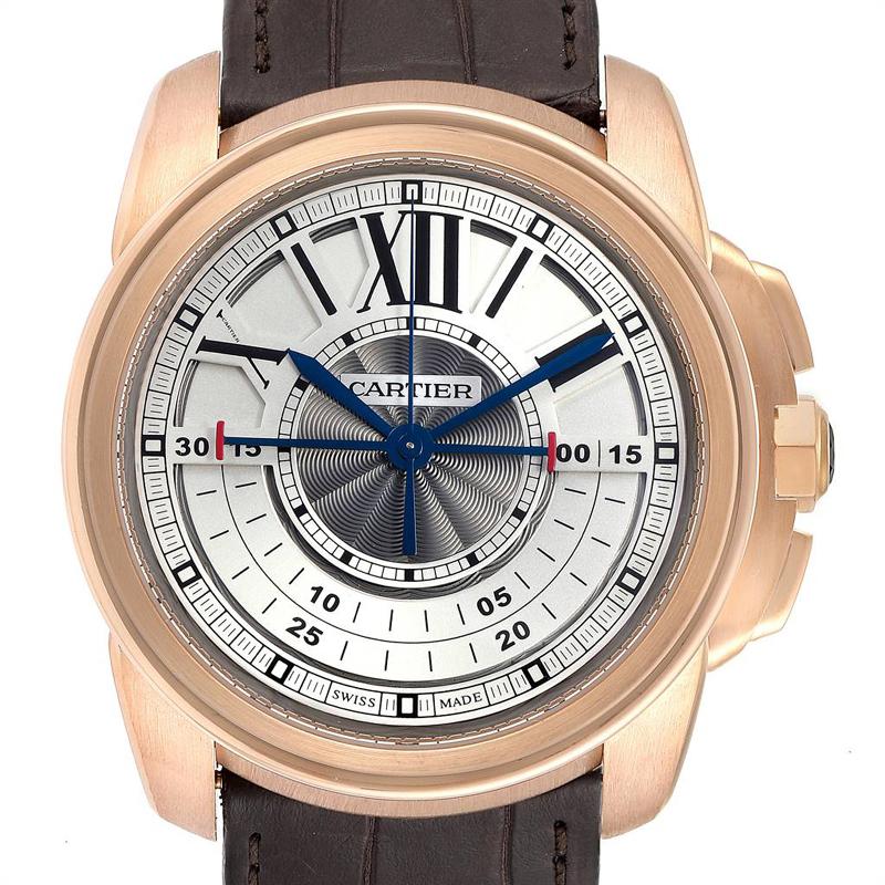 Cartier Schiefer 18K Rose Gold und Leder Kaliber zentrale Chronographen-W7100004 Herren Armbanduhr 45MM