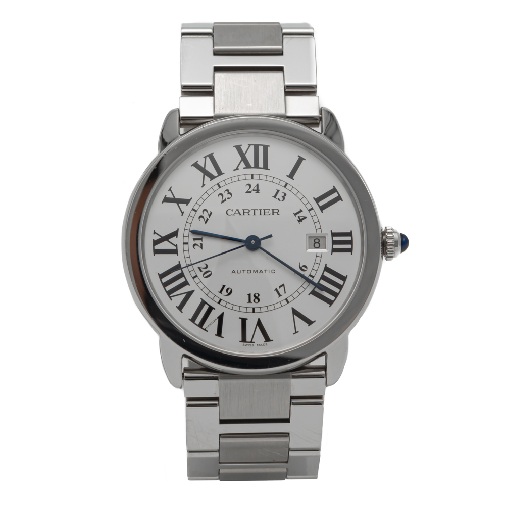 Cartier Silver Dial Ronde Solo De Cartier Stainless Steel Automatic Watch 42MM