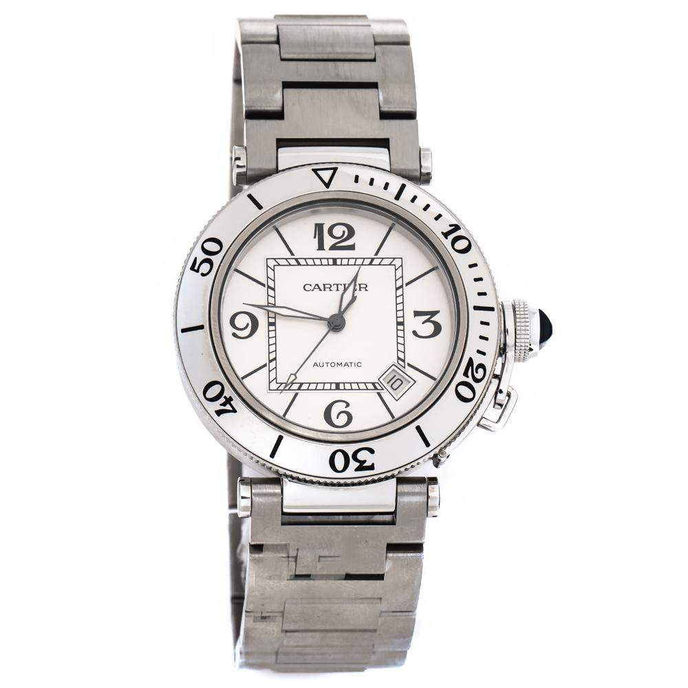 Cartier Silver White Stainless Steel Pasha Seatimer 2790 Men's Wristwatch 40 mm