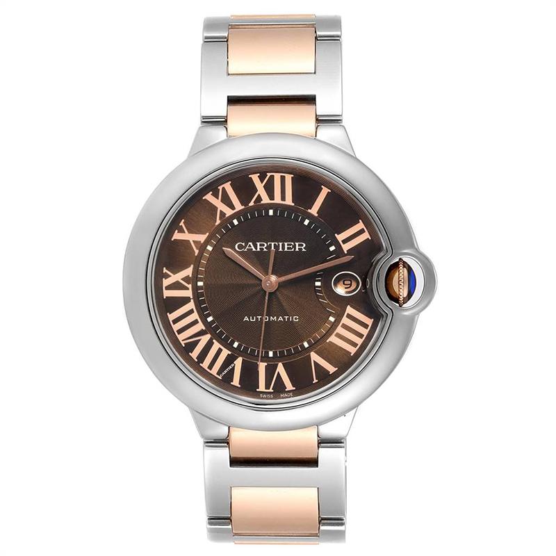 Cartier Chocolate Dial Rose Gold & Steel Ballon Bleu Automatic Men's Watch 42MM