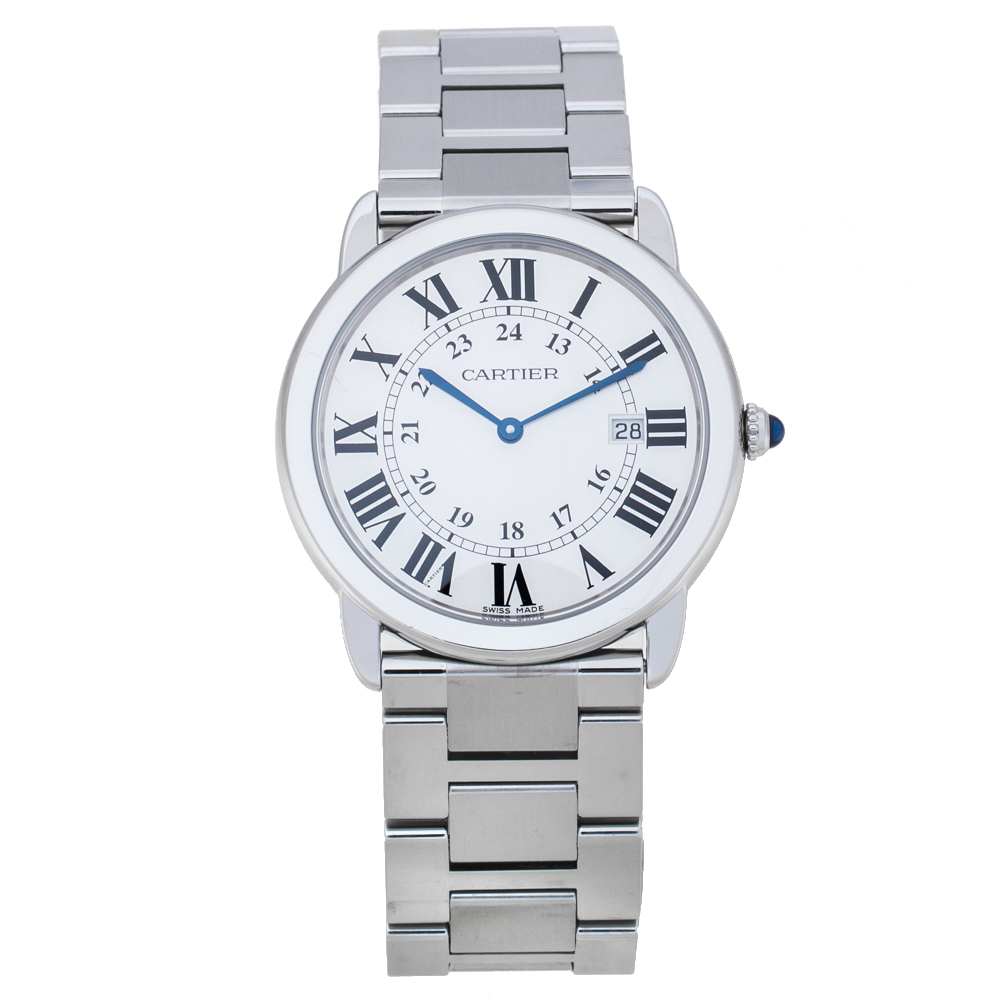 Pre-owned Cartier Silver Stainless Steel Ronde Solo 3603 Men's Wristwatch 36 Mm