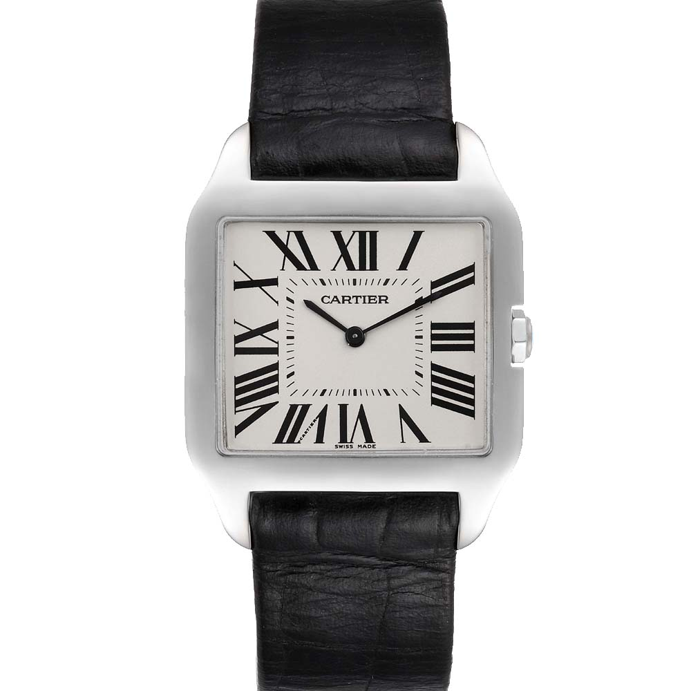 Cartier Silver 18k White Gold Santos Dumont W2007051 Men's Wristwatch 29 x 35 MM