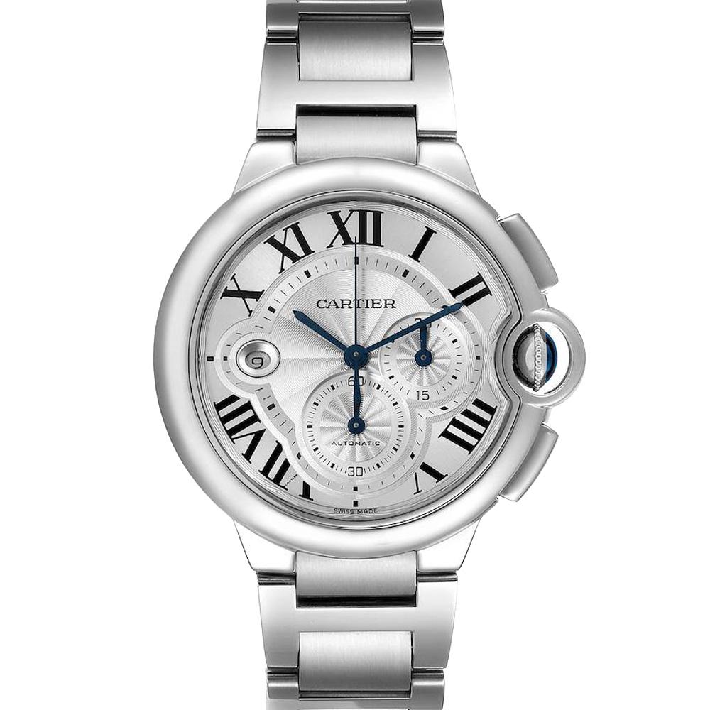 Pre-owned Cartier Silver Stainless Steel Ballon Bleu Chronograph W6920076 Men's Wristwatch 44 Mm