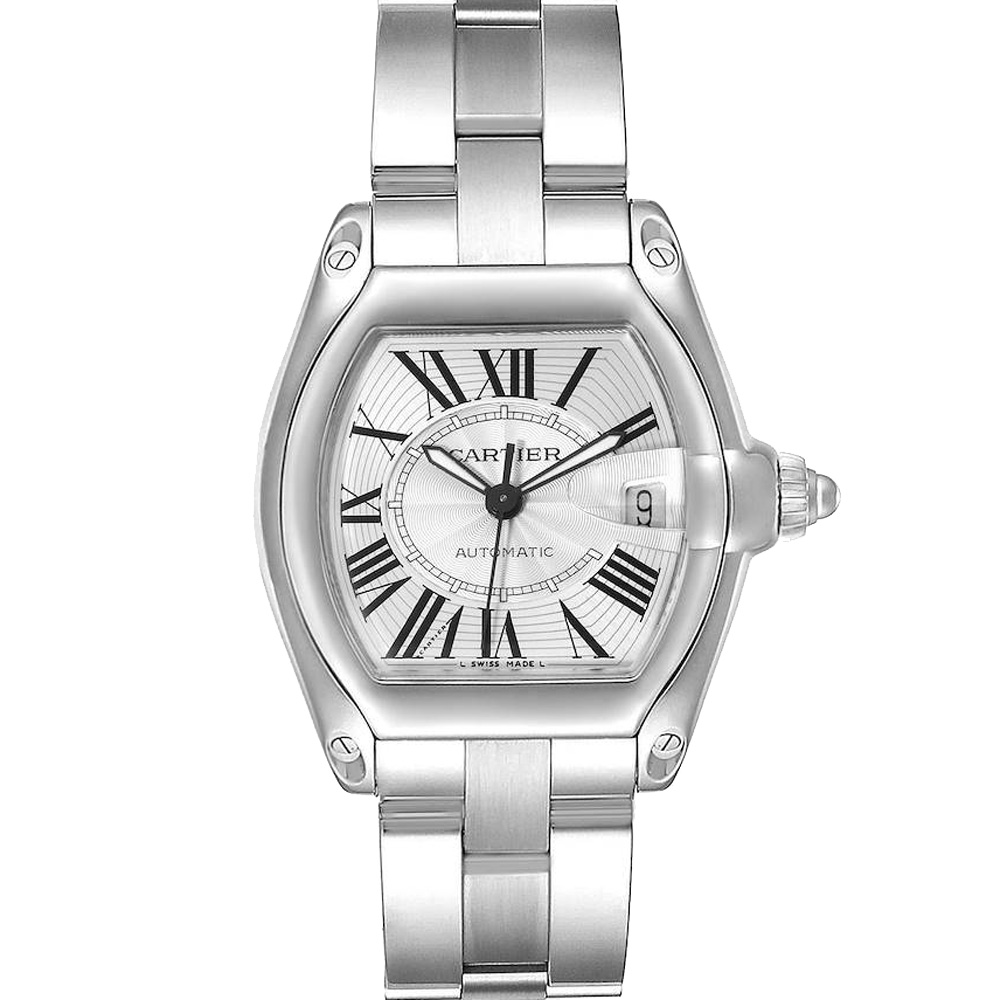 Pre-owned Cartier Silver Stainless Steel Roadster W62025v3 Men's Wristwatch 38 X 43 Mm