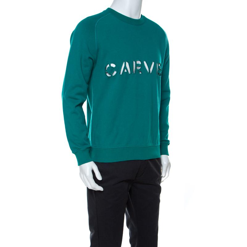 Carven Teal Vert Coton Découpe Détail Sweat-Shirt L