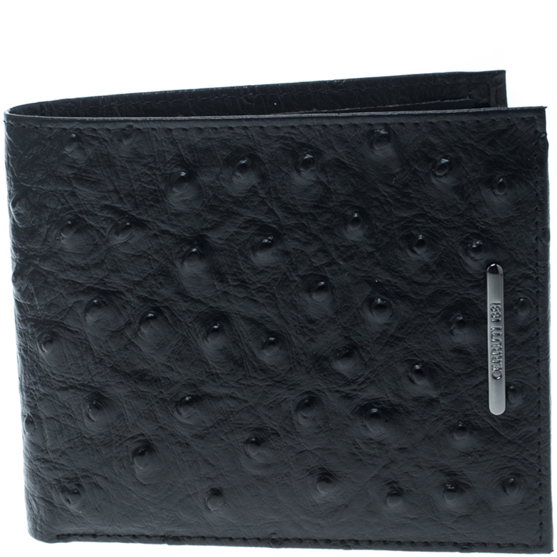 ce4a608c02 Buy Cerruti 1881 Black Ostrich Embossed Leather Mayfair Bifold ...